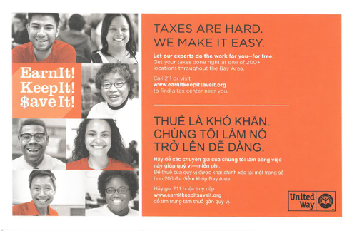 Postcard for VITA Free Tax Preparation Service in English and Vietnamese - ASIAN, Inc.